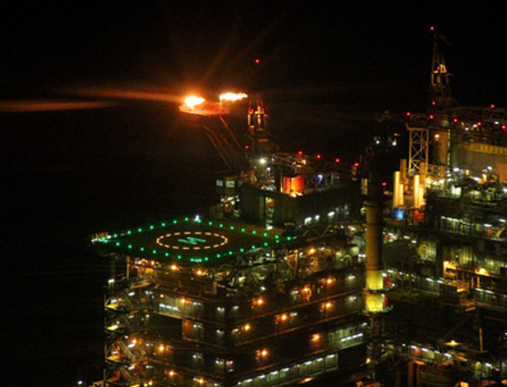 The New Lighting System On An Offshore Platform, Showing Clearly The Illuminated H And Landing Circle. Photo Courtesy UKCAA
